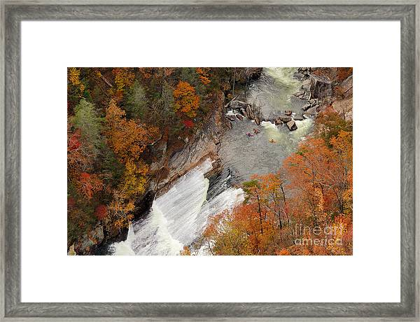 Kayakers Contemplate Going Down A Rapid Framed Print