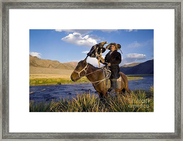 Kazakh Men Traditionally Hunt Foxes And Framed Print