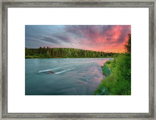 Kenai River Alaska Sunset Framed Print