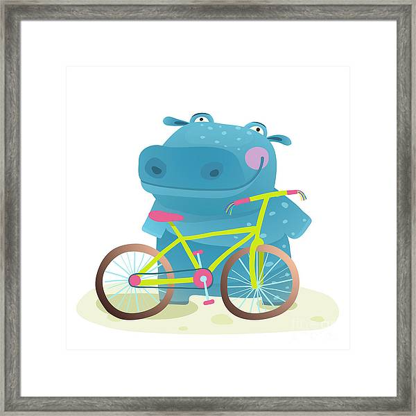Kid Cute Hippo With Bicycle Childish Framed Print