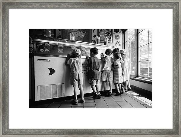 Kids At Ice Cream Counter Framed Print