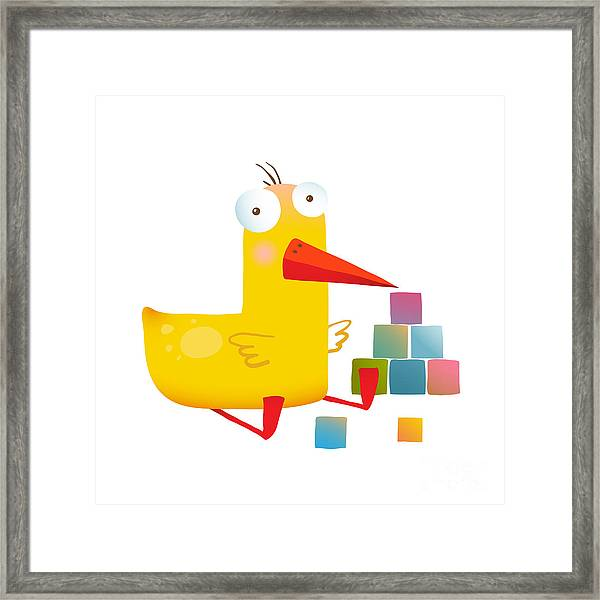Kids Duck Playing Cubes Funny Toy Framed Print