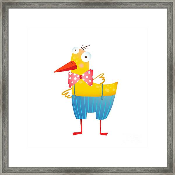 Kids Humorous Yellow Duck With Bow Tie Framed Print