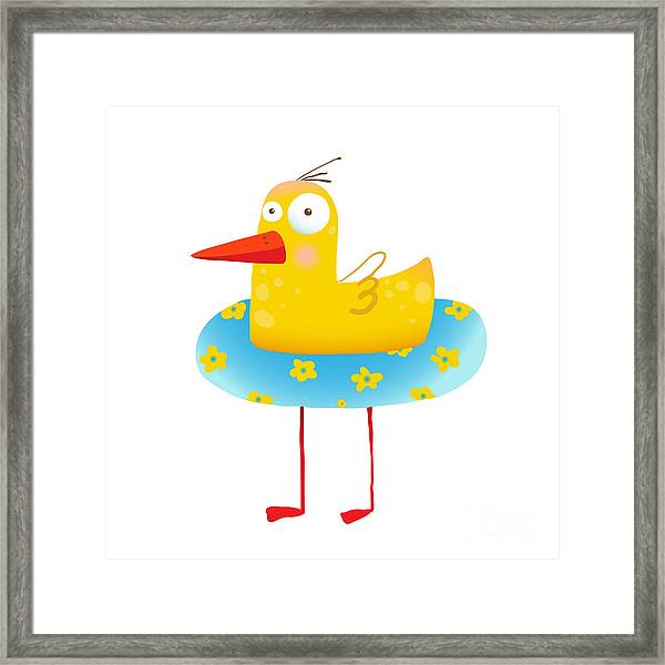 Kids Humorous Yellow Duck With Swimming Framed Print