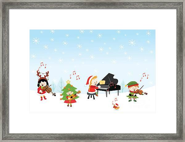 Kids Playing Christmas Songs Framed Print