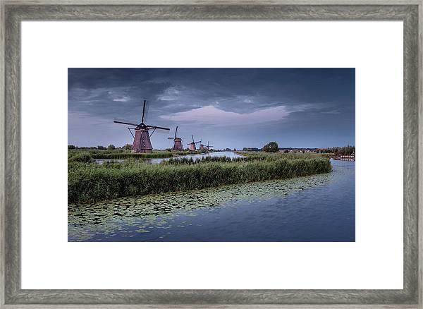 Kinderdijk Dark Sky Framed Print