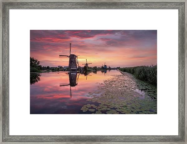 Kinderdijk Sunset Framed Print