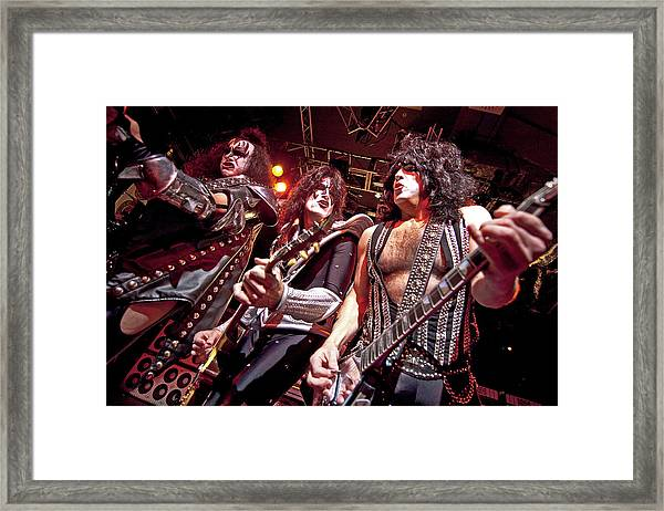 Kiss Perform At The O2 Islington Framed Print by Neil Lupin
