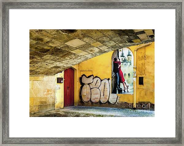 Kissing Under The Bridge Framed Print