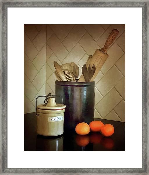 Kitchen Utensils - Bread Crumbs - Mandarin Oranges Framed Print