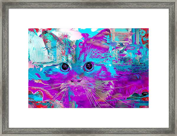 Kitty Collage Blue Framed Print