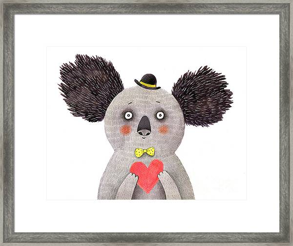 Koala With Heart. Watercolor And Pencil Framed Print