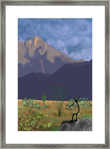 Kokopelli And Mount Wrightson Framed Print