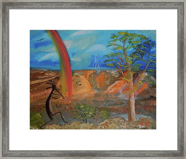 Kokopelli Calls The Storm Framed Print