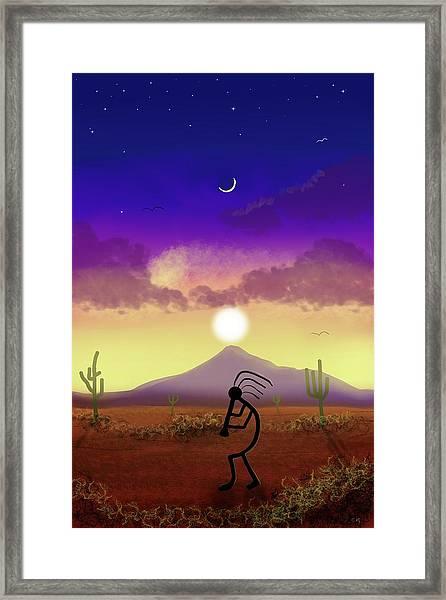 Kokopelli Dream World Framed Print