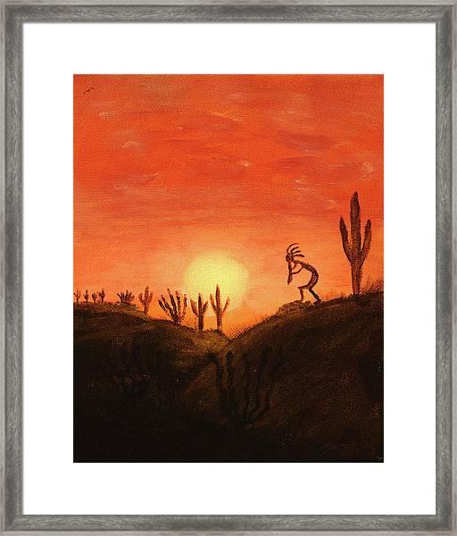 Kokopelli's Sunset Song Framed Print