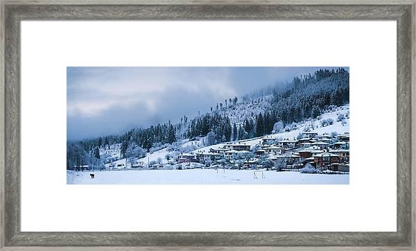 Framed Print featuring the photograph Koprivshtica Winter Panorama by Milan Ljubisavljevic