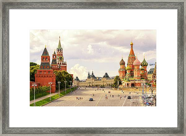 Kremlin And St Basils Cathedral On The Framed Print