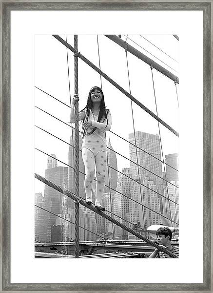 Kusama On The Brooklyn Bridge Framed Print