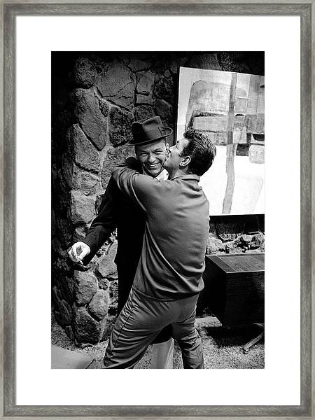 L-r Entertainer Frank Sinatra Getting Framed Print by John Dominis