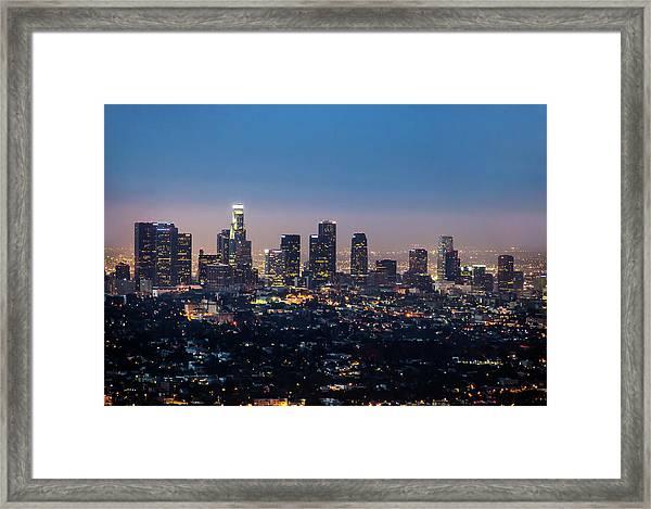 La Downtown At Night Framed Print