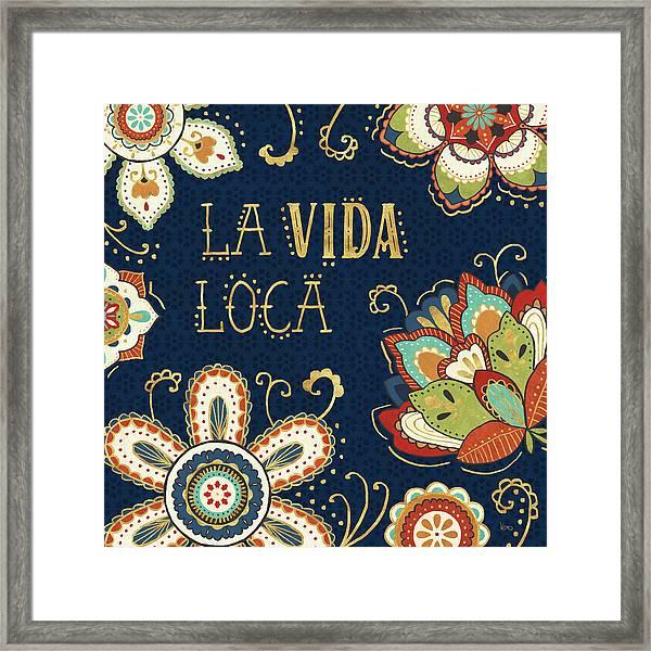 La Vida Loca II Blue Framed Print by Veronique Charron
