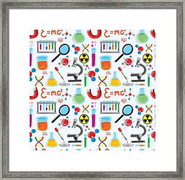 Laboratory Equipment Seamless Background Framed Print