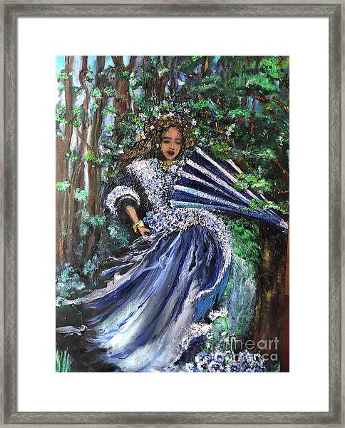 Lady In Forest Framed Print