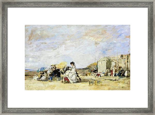 Lady In White On The Beach At Trouville - Digital Remastered Edition Framed Print