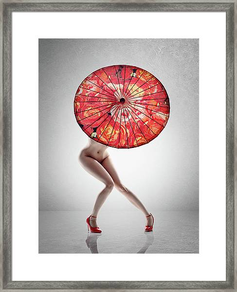Lady With Red Shoes And Parasol Framed Print