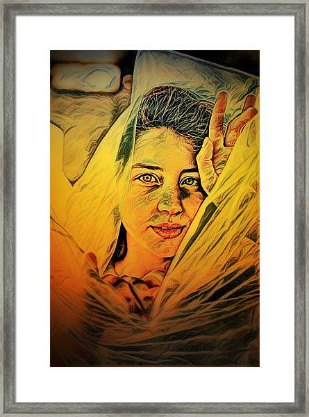 Lady Wrapped In Strings Framed Print