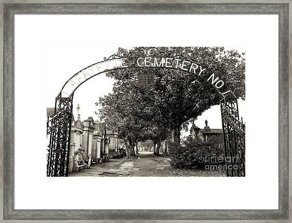 Lafayette Cemetery No. 1 Sepia In New Orleans Framed Print by John Rizzuto