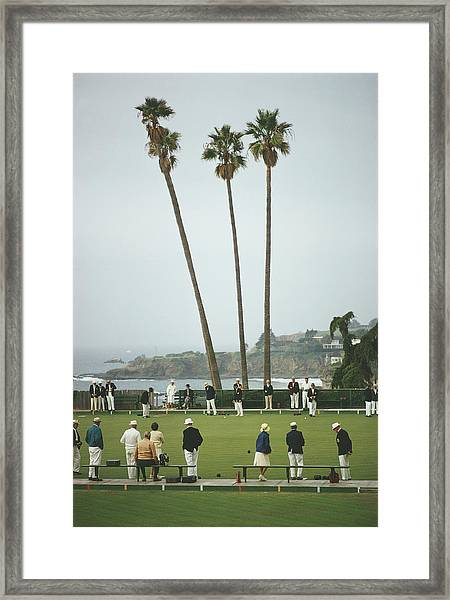 Laguna Bowls Framed Print by Slim Aarons
