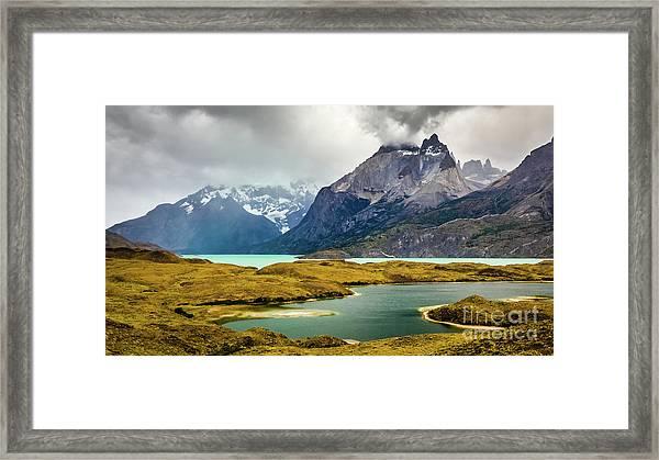 Laguna Larga, Lago Nordernskjoeld, Cuernos Del Paine, Torres Del Paine, Chile Framed Print