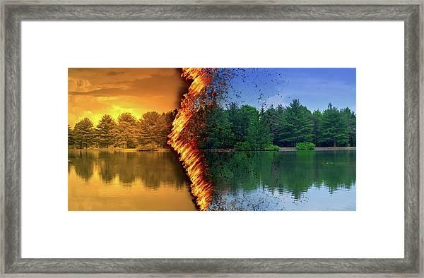 Lake Forest Fire Framed Print
