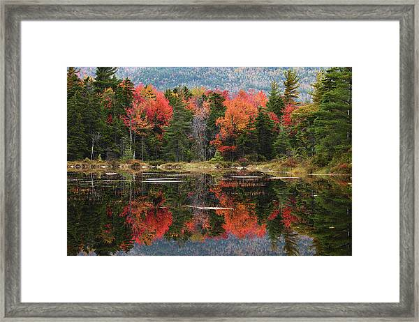 Lake Perfectly Reflects Powerful Fall Framed Print