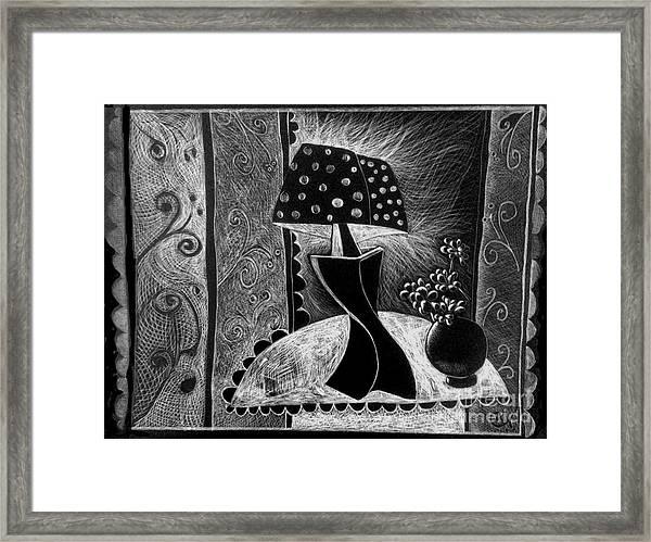 Lamp And Flowers. Framed Print