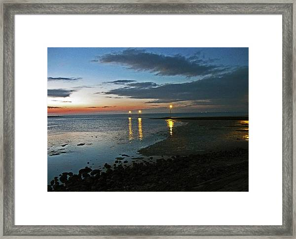Lancashire. Knott End. Sunset.. Framed Print