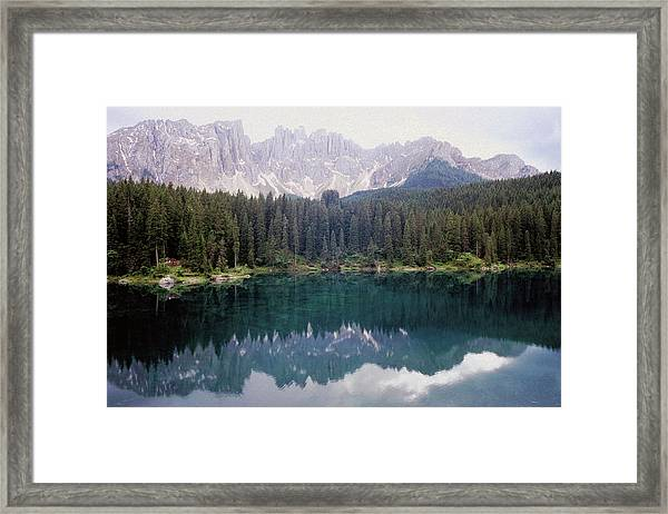 Landscape Of Carezza Lake And Latemar Framed Print by Stefano Salvetti