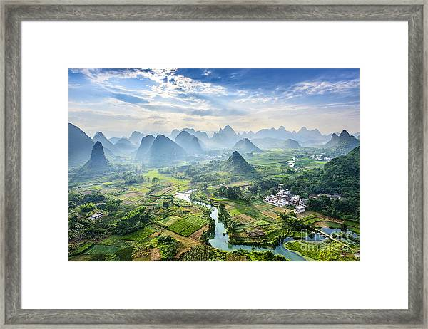 Landscape Of Guilin, Li River And Karst Framed Print