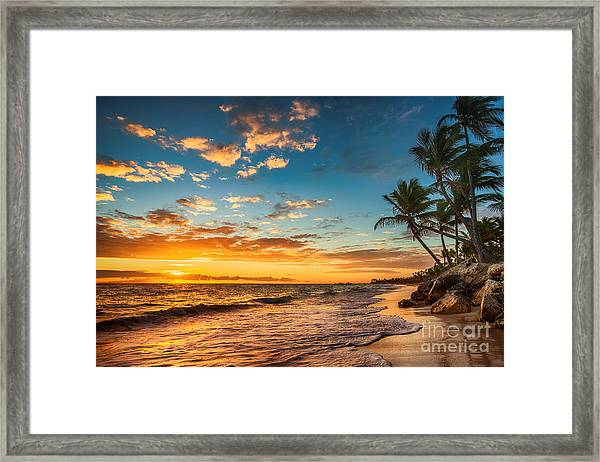 Landscape Of Paradise Tropical Island Framed Print