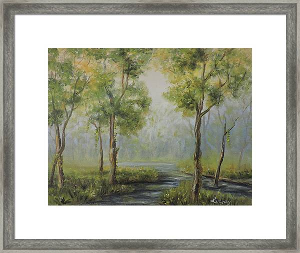 Landscape Of The Great Swamp Of New Jersey With Pond Framed Print