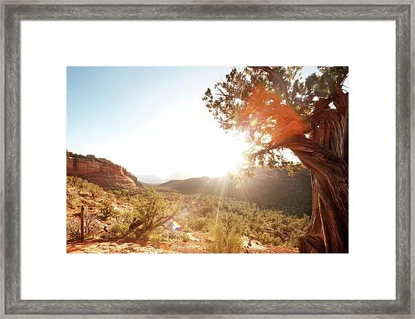 Landscape Scene Of Red Rock Mountains Framed Print