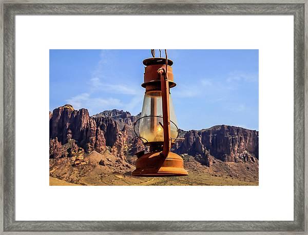 Lantern Over Superstitions Framed Print