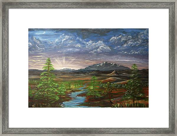Framed Print featuring the painting Laramie Peak Evening by Chance Kafka