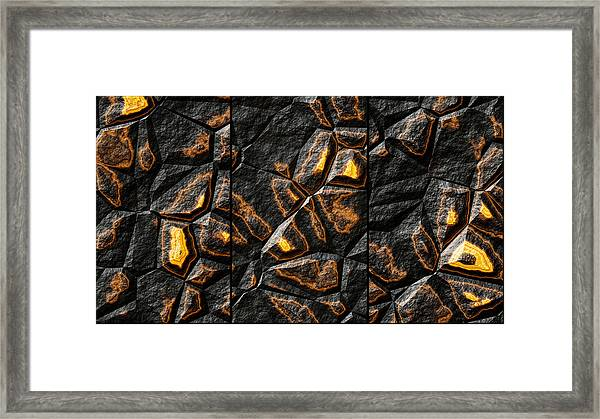 Large Gold Stone Triptych Framed Print