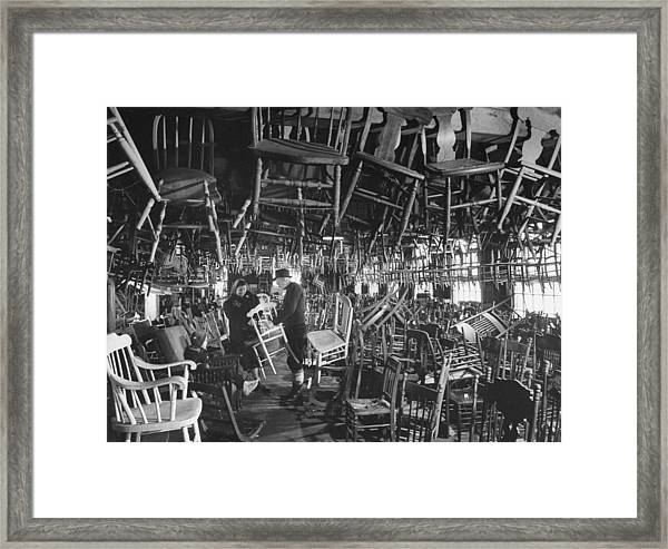 Large Room Full Of Chairs Being Offered Framed Print by Walter Sanders