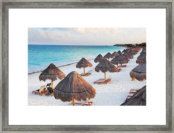 Large Tropical Beach With Palapas Framed Print