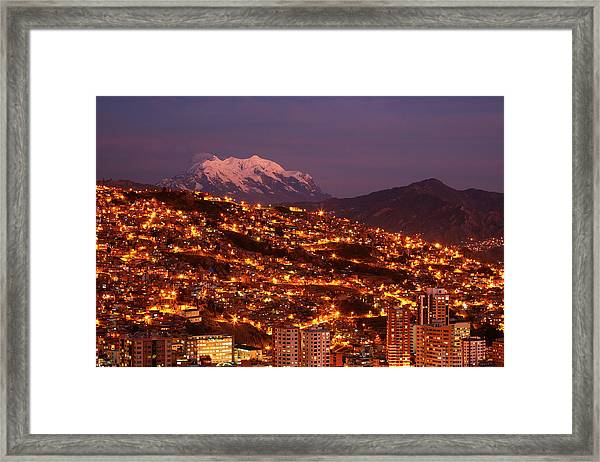 Last Light On Illimani (6438m/21,122ft Framed Print