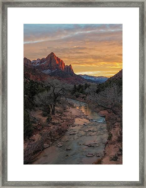 Last Light On The Watchman Framed Print